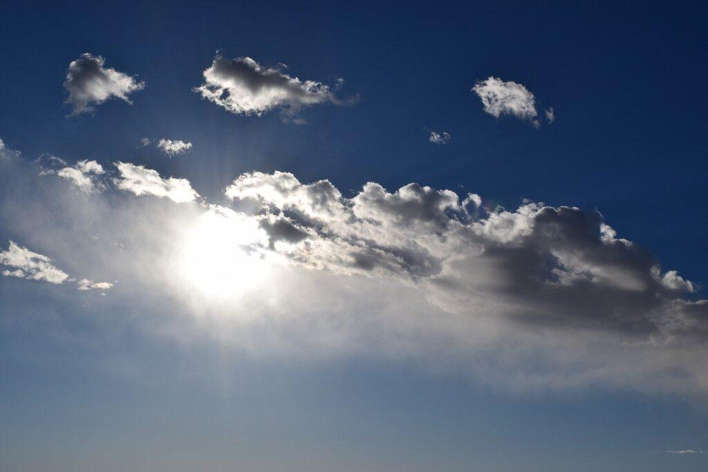 sky, sun, clouds
